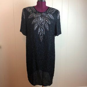 Vintage 80s Black Beaded Sequined Prom Party